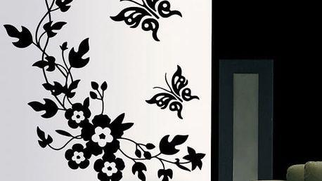 Samolepka na zeď - Černé květiny s motýly - dodání do 2 dnů