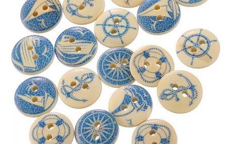 Dřevěné knoflíky s modrým námořním designem - sada 50 kusů - dodání do 2 dnů
