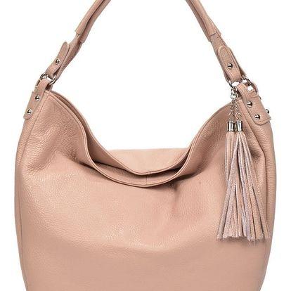 Pudrově růžová kožená kabelka Renata Corsi Dona - doprava zdarma!
