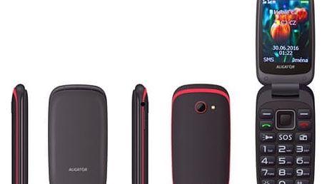 Mobilní telefon Aligator V400 Senior (AV400BR) černý/červený