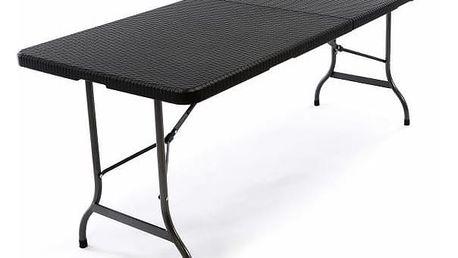 Garthen 37108 Skládací zahradní stůl - černý 180 x 75 cm