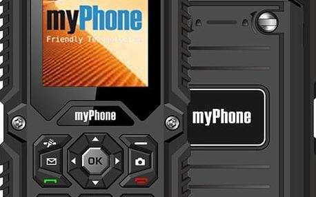 "MYPHONE HAMMER Dual SIM Black, odolný mobilní telefon, 2"" TFT(144x176), podporuje 2 SIM karty, odolnost IP67, fotoaparát"