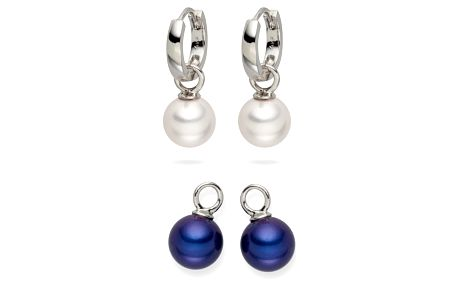 Sada 2 perlových náušnic Nova Pearls Copenhagen Catherin White/Blue