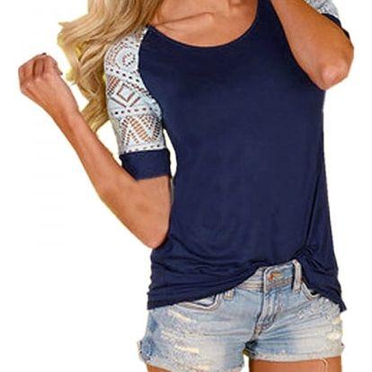 Dámské triko s krajkovým rukávem - více barev a velikostí