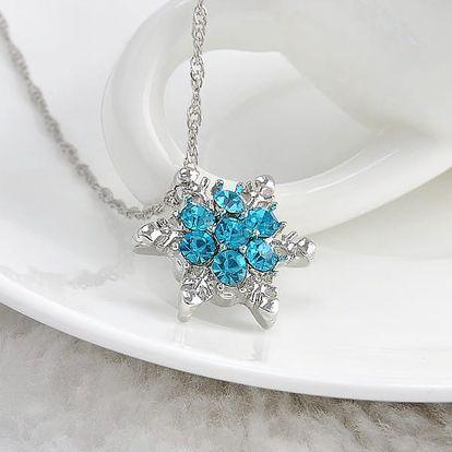 Vintage náhrdelník s přívěskem sněhové vločky - tmavě modrá barva - dodání do 2 dnů