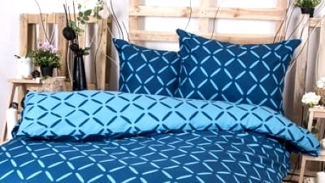 XPOSE ® Francouzské bavlněné povlečení KRISTÝNA DUO - modrá 200x220, 70x90
