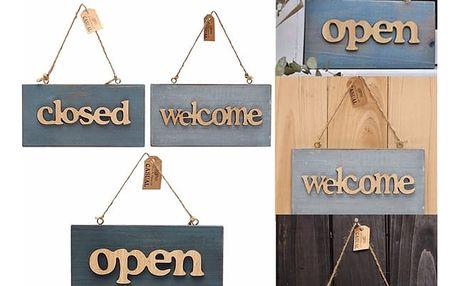 Cedule na dveře Open, Closed, Welcome ve vintage designu