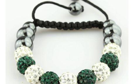 Fashion Icon Náramek Shamballa - hematit korálky a krystalky