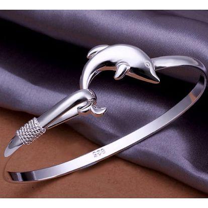 Elegantní tenký náramek s delfínkem