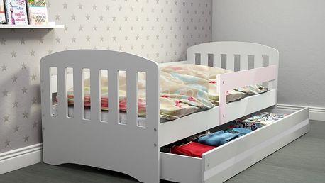 Dětská postel CLASSIC 80x160 cm, bílá/bílá Pěnová matrace