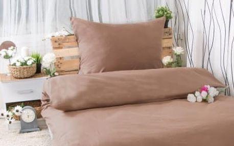 XPOSE ® Bavlněné povlečení na dvě lůžka MICHAELA - hnědá 140x200, 70x90