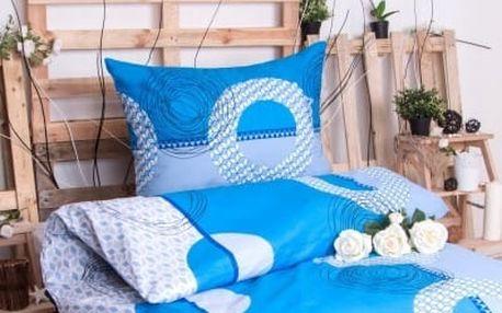 XPOSE ® Bavlněné povlečení na dvě lůžka LADA - modrá 140x200, 70x90