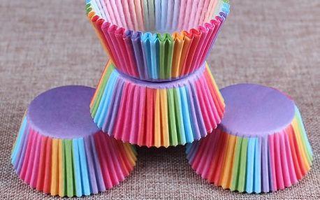 Košíčky na muffiny a cupcakes - duhová barva - 100 kusů - dodání do 2 dnů