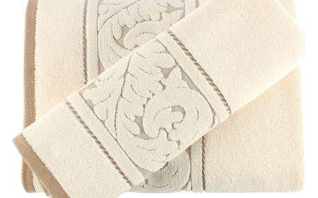 Sada krémového ručníku a osušky Sultan
