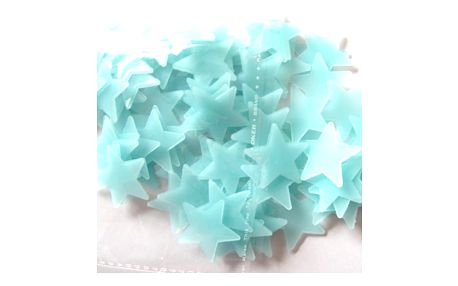 Sada svítících 3D hvězdiček na zeď v modré barvě - 100 ks - dodání do 2 dnů