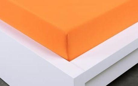 XPOSE ® Jersey prostěradlo Exclusive dvoulůžko - oranžová 160x200 cm