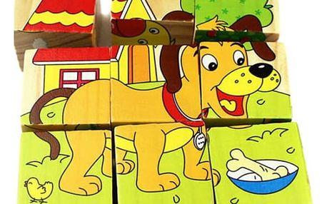 Dětské dřevěné kostky se zvířátky