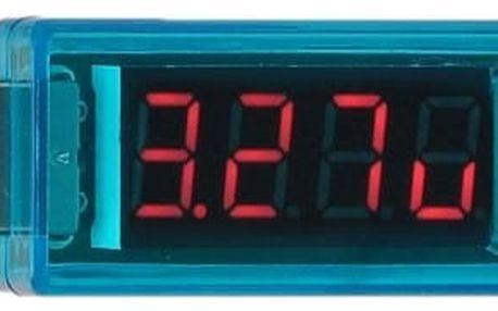 Přenosný USB voltmetr a ampérmetr - modrá