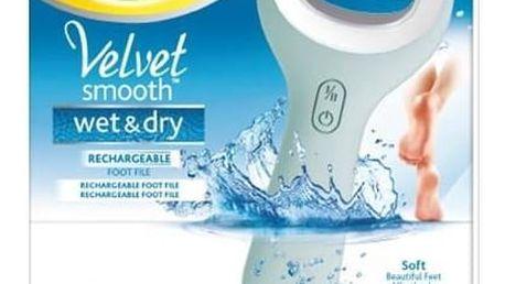 Elektrický pilník na chodidla Scholl Velvet Smooth Wet & Dry šedý/modrý Denní krém na paty Scholl Velvet Smooth 60 ml (zdarma)