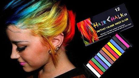 12 různě barevných kříd na vlasy Hair Chalk