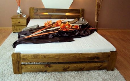 Postel EUREKA + matrace + rošt 140 x 200 cm - dub - lak