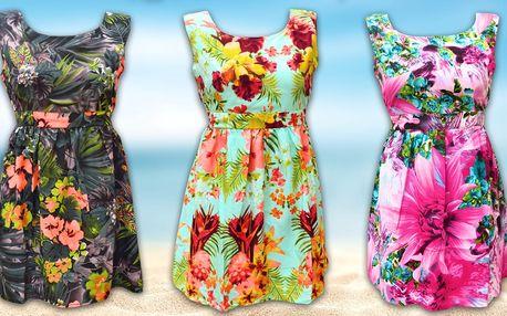 Květinové šaty s vázáním v pase