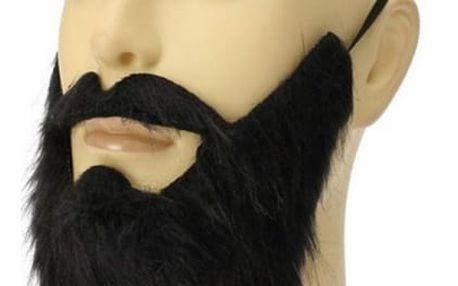 Falešné vousy s knírkem - černá barva