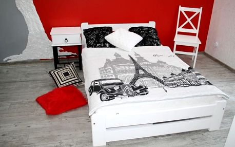Postel EUREKA + matrace + rošt 140 x 200 cm - bílá barva