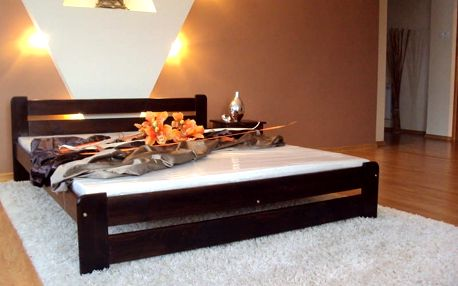 Postel EUREKA + matrace + rošt 140 x 200 cm - ořech - lak