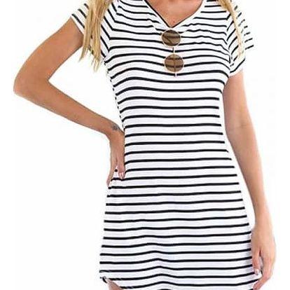 Letní dámské dlouhé tričko s proužky - 4 velikosti