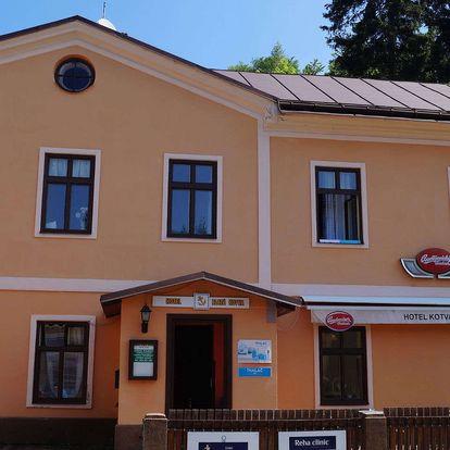 Krkonošská lázeňská kolonáda v Jánských lázních s možností lázeňských procedur a výhledem na Černou horu v hotelu Zlatá Kotva
