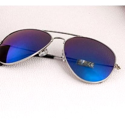 Sluneční brýle pilotky - modrá skla, stříbrný rám - dodání do 2 dnů