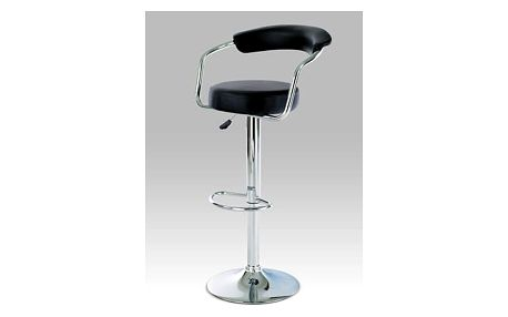 Barová židle AUB-308 BK - chrom/koženka černá