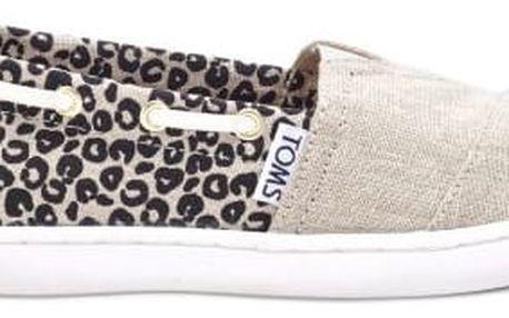 Toms béžové dívčí boty Cheetah Metallic Linen - 31