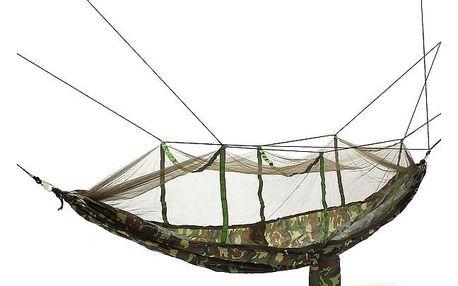 Outdoorová houpací síť na spaní s kamufláží a síťkou proti hmyzu