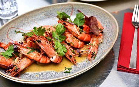 Luxusní restované tygří krevety s přílohou