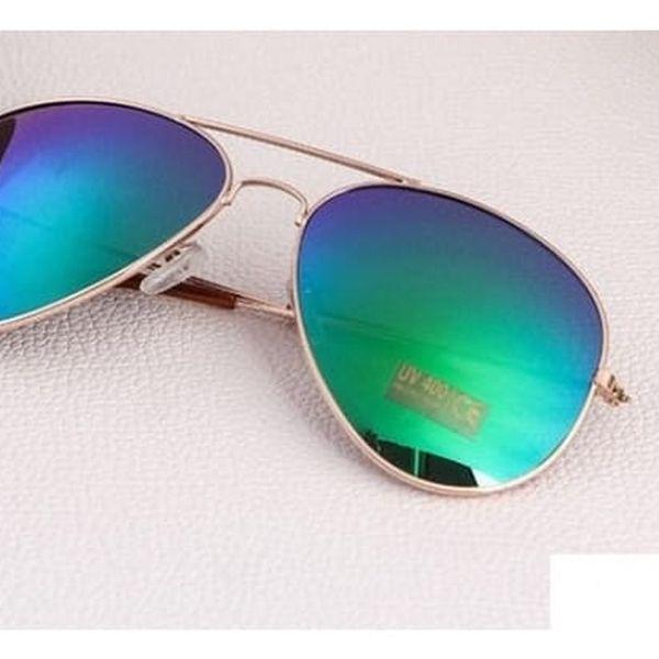 Sluneční brýle pilotky - modrá skla, zlatý rám - dodání do 2 dnů
