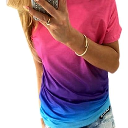 Dámské triko v duhových barvách se spadlým ramenem - varianta 1, velikost 3 - dodání do 2 dnů