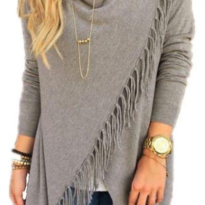 Dámský svetr na způsob ponča - třásně - šedá, velikost 4