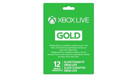 Předplacená karta Microsoft Xbox LIVE Gold - zlaté členství 12 měsíců (52M-00544)