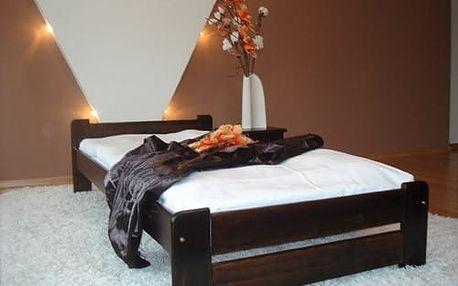 Postel s matrací a roštem EURO 80 x 200 cm - ořech - lak