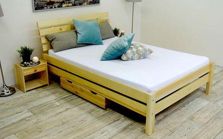 Vyvýšená postel z masivu ANNABEL + matrace + rošt 160 x 200 cm - přírodní - lak