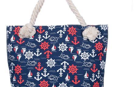 Fashion Icon Plažová taška Kotva lněná 05