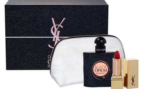Yves Saint Laurent Black Opium dárková kazeta pro ženy parfémovaná voda 50 ml + rtěnka Rouge Pur Couture 1,3 ml odstín 1 + kosmetická taška