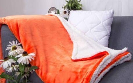 XPOSE ® Deka mikroflanel s beránkem - oranžová 140x200 cm