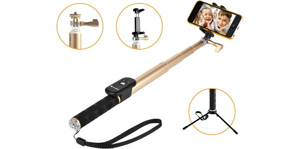GoGEN 4 Selfie tyč teleskopická, bluetooth, zlatá - GOGBTSELFIE4G