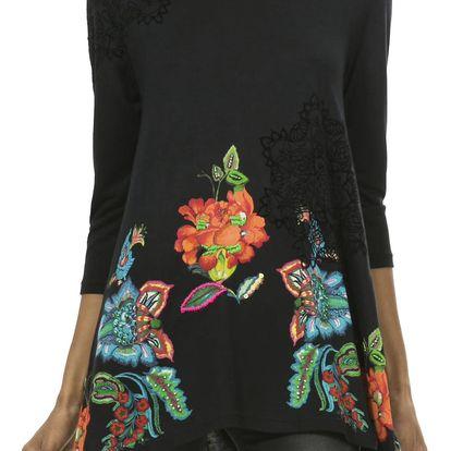 Desigual černé tričko Ramona s květinovými motivy - M