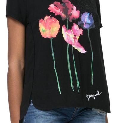 Desigual černý top Marian s květy - S