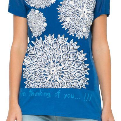 Desigual modré tričko Loo - XS