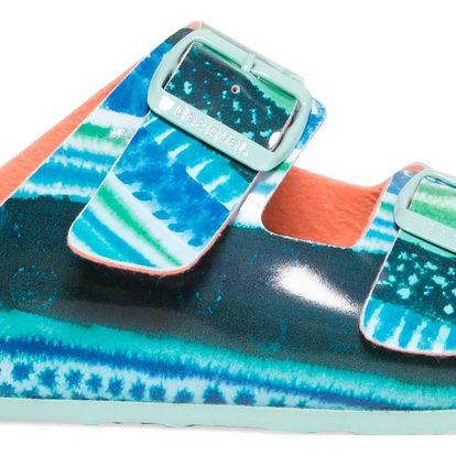 Desigual tyrkysové pantofle Bio2 Blue Aquarella - 37
